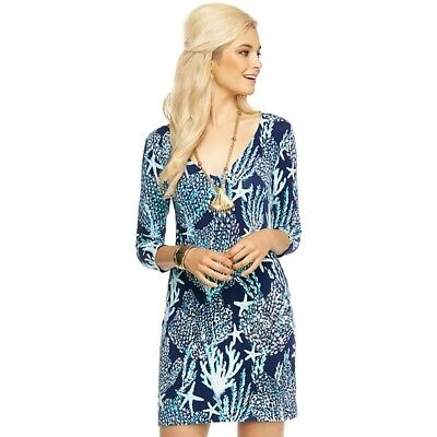 2fac069201b33d NEW Lilly Pulitzer CLARKE V NECK FRENCH TERRY DRESS Bright Navy Good Reef  Small