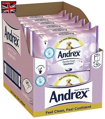 Andrex Washlets Flushable Toilet Tissue Wipes Gentle Clean Wipes, Pack of 12