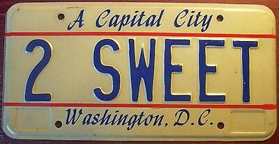 1980s WASHINGTON D.C. DISTRICT OF COLUMBIA VANITY LICENSE PLATE 2 SWEET CANDY