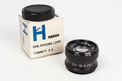 Objetivo ampliadora Hansa 1:3.5 75mm  in box / Enlager Lens