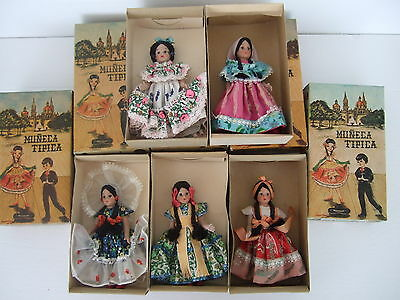 "Lot of 5 VTG  Muneca Tipica 6"" mexican dolls traditional clothing in original bo"