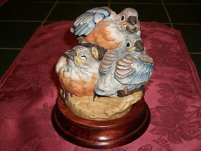 Andrea by Sadek 3 Baby Bluebirds Porcelain Figurine w/ Wood Base Japan 5803