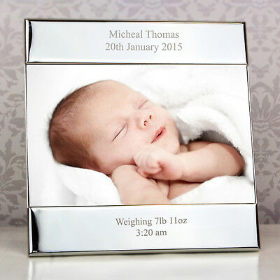 Personalised New Baby 4x6 Photo Picture Frame Gift Boy Girl Engraved Present