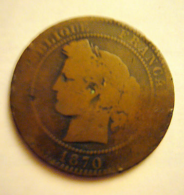 1870 A FRANCE 10 Centimes Coin