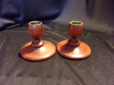 Vintage Small Wood Candleholder Pair Wooden Candlestick Holders