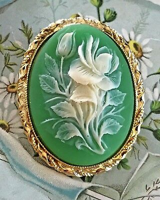 Vintage Brooch Floral Large Green Rose Fold Tone Pink Flower Carved #1067DD
