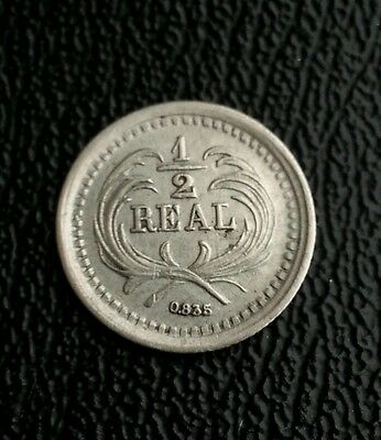 Guatemala 1879 1/2 real  silver coin moneda plata. variant coin large date