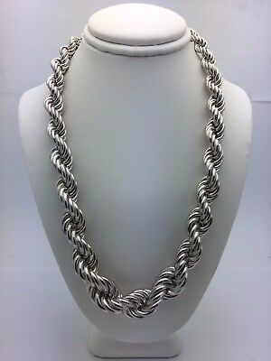 "Sterling Silver Hollow 16"" Graduated Twisted Rope Chain Necklace 7mm-12mm 53.7 g"
