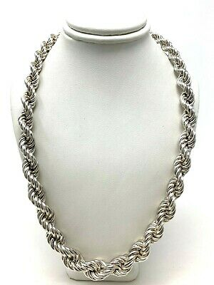 "Sterling Silver Hollow 18"" Graduated Twisted Rope Chain Necklace 7mm-12mm, 57 g"