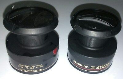 lot of 2 used Shimano  R 4000  Spinning Reel part spare spool black