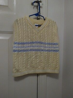 Boys Yellow, Sky blue and White Sweater vest, Size 5