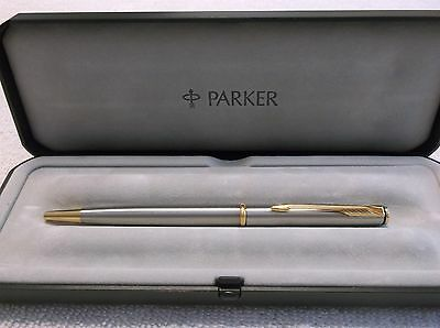 Parker Insignia Stainless Steel /& Gold  Ballpoint Pen In Box Made In Usa  Mint *