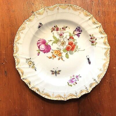 Antique KPM Porcelain Cabinet Plate with Florals & Insects Motifs