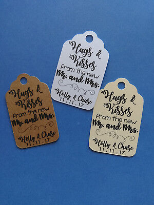 20 CUTE personalized Wedding favor tags! Hugs & Kisses from the new Mr. and Mrs.
