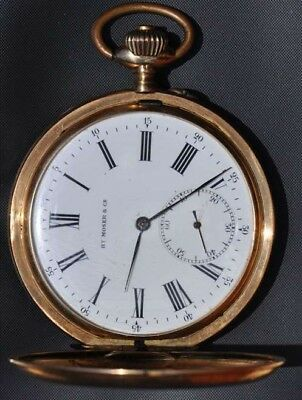HENRY MOSER & Cie antique 1887-1890 IWC Swiss art deco 14k Gold pocket watch