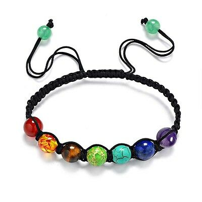 7 Chakra Healing Point Bracelet Beaded Luck Lava Yoga Reiki Prayer Stone Unisex