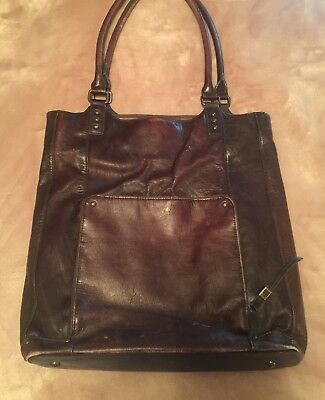 Solo Columbian Leather Laptop Bucket Tote/Women's Business Bag Espresso Brown