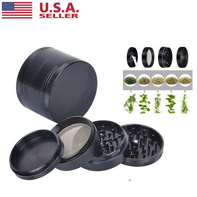 4 Piece Magnetic 2 Inch Black Tobacco Herb Grinder Spice Aluminum With Scoop US