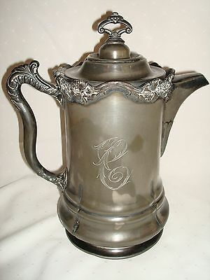 Antique Victorian 1876 Silver Large Beer Or Chocolate Pot Porcelain Enamel Lined