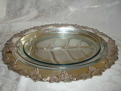 Sheffield Sussex Large Silver Meat Tray Platter, Glass Liner Grapes Old English