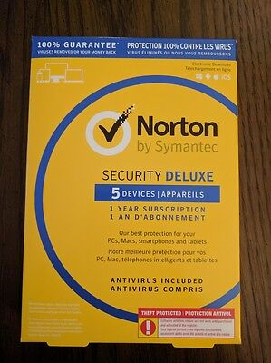 Symantec Norton Security Deluxe 2017 5 Devices 1 year –PC Mac Android iOS