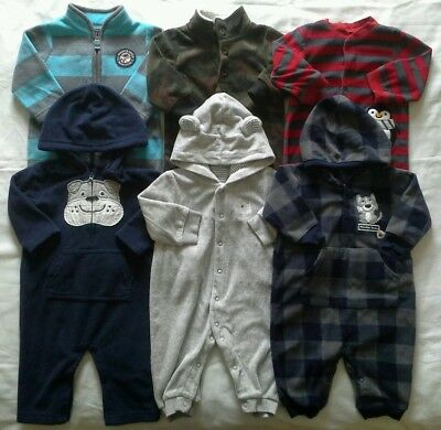 Boys 6 months Carter's Fleece Rompers Fall Winter outfits clothes lot!