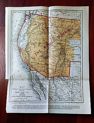1888 Map of Desert Land Act Gold Region Western United States