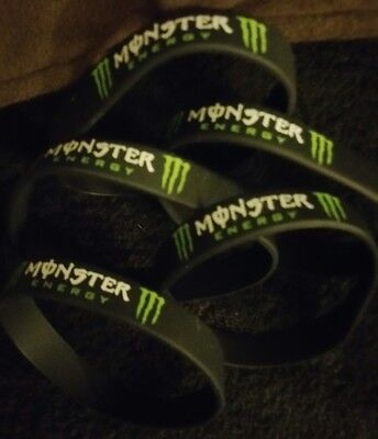Monster Energy Black Silicon Wristband X 5 NEW