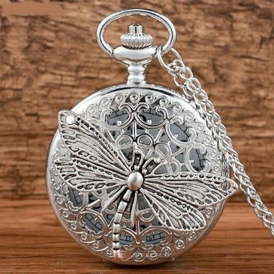 Stunning SILVER DRAGONFLY Quartz Pocket Watch Pendant Necklace Gift Boxed + Gift