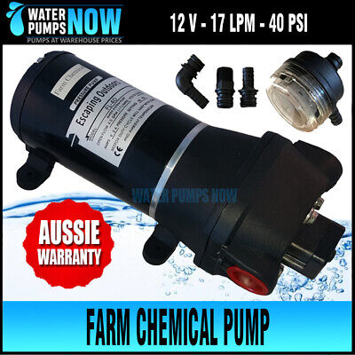 12V Farm Chemical or Water Pump for boom spraying 40psi 17 lpm +chemical seals