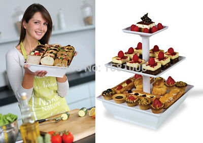 Assemble Snack and Cake Server,2 or 3 Tiers cake stand display,white,square
