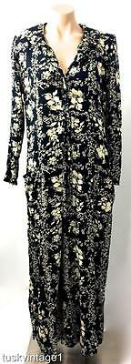 VINTAGE Black cream FLORAL WIDE LEG pants RAYON soft drape JUMPSUIT 8 10