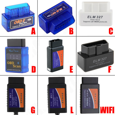 ELM327 OBDII OBD2 Bluetooth Car Diagnostic Wireless Scanner Tool iOS Android A^^