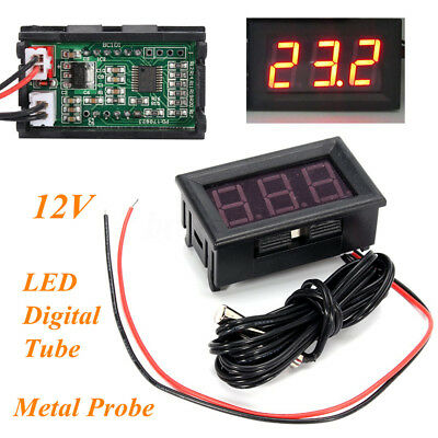 12V Red LED Digital Thermometer w/ Sensor Probe -50~110C Temperature Detector
