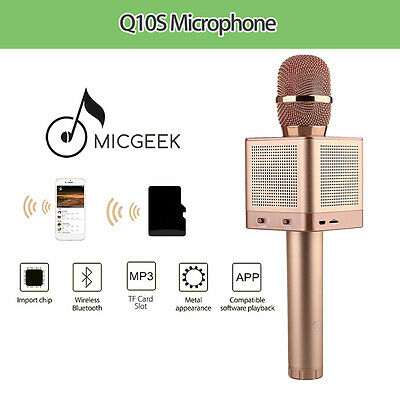 2 X Rose Gold Portable MicGeekQ10S Wireless Voice Change Karaoke For Family KTV