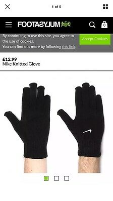 Nike Black Knitted Gloves - BRAND NEW - RRP £12.99