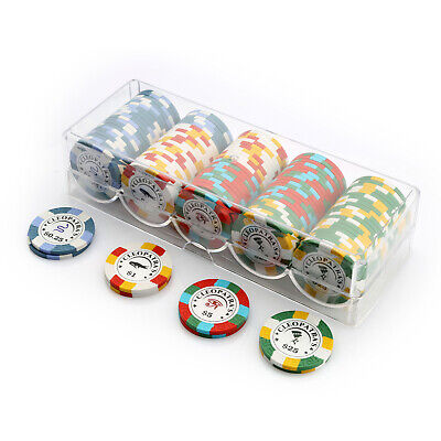 100 Chip Poker Set Clear Acrylic Rack Cover Cleopatra's 14g Chips New Sealed