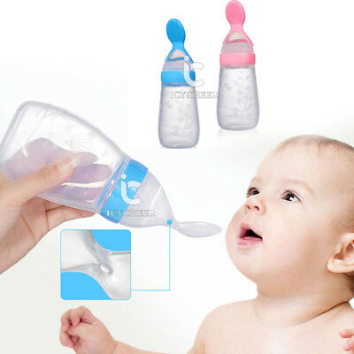 Baby Toddler Kids Food Cereal Bottle Feeding Spoon Silicone Safe Feeder Supplies