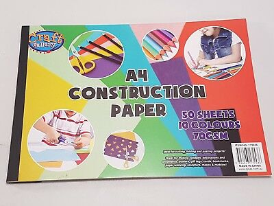 New - A4 Coloured Construction Paper - 50 Sheets - 10 Colours - 70Gsm