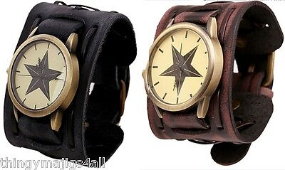 Leather Black Brown Watch Wristband Wrist Wide Strap Bracelet Mens Time Star Uk