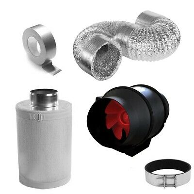Mixed Flow High Pressure Hydroponics inline Duct Fan Carbon Filter Ducting Tape