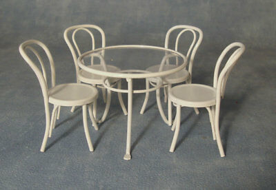 1:12 Scale White Metal Table /& 4 Chairs Tumdee Dolls House Cafe Pub Garden
