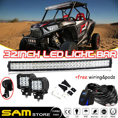 "32"" Curved Light Bar Polaris RZR XP900 RZR4 Crew XP1000 Ranger 900 800s 570 UTV"