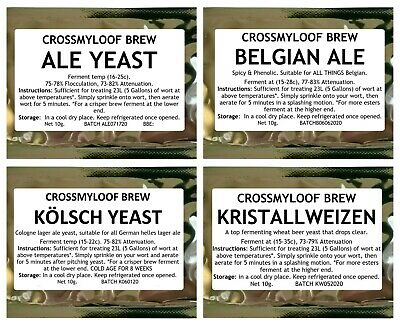 Home Brew Beer Yeast. Pale Ale,Real Ale,Belgian,Lager,Wheat,Saison. Multi Buy10g