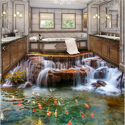 Custom Floor 3D Wallpaper river water carp Bathroom Floor Mural-3d PVC Wallpaper