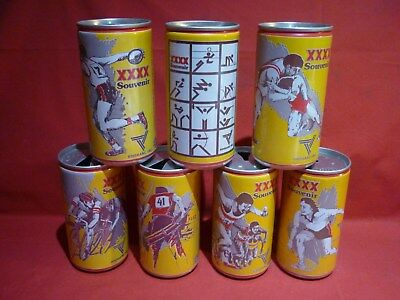 7 Different Castlemaine Xxxx Bitter Beer Cans Commonwealth Games 1982 Vgc