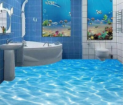 bathroom Custom 3D floor mural Sea water ripples wear non-slip waterproof thicke