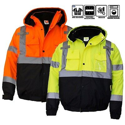 ANSI Class 3 Men's Hi Viz Reflective Waterproof Winter Bomber Safety Jacket