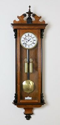 Antique 2 Weight Figured Walnut & Ebonised Vienna Regulator Wall Clock H Endler
