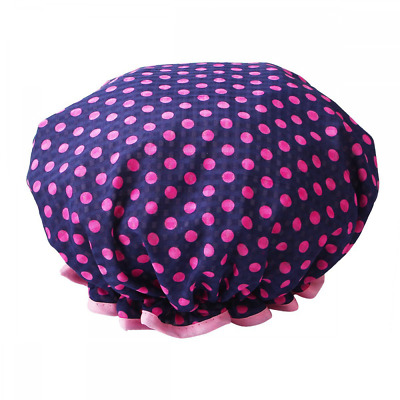 *BEST Womens Shower Cap Polka Dot Double Layer Waterproof Navy Hair Dry Caps NEW